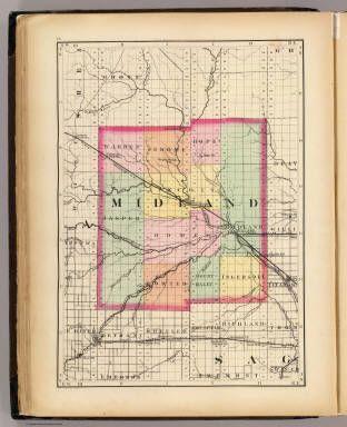 Map Of Midland County Michigan Walling H F 1873 Grama