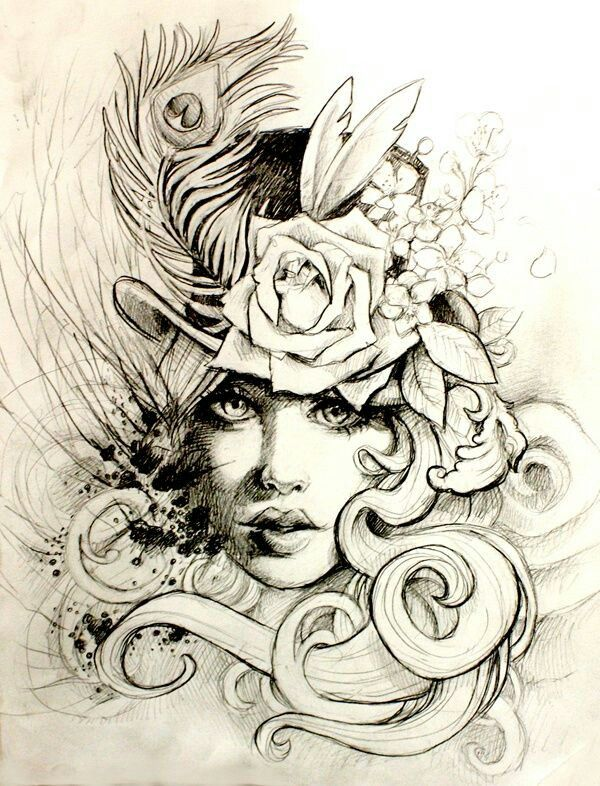 7b720ca22 Girl with top hat | Top Hat Love | Tattoos, Tattoo sketches ...