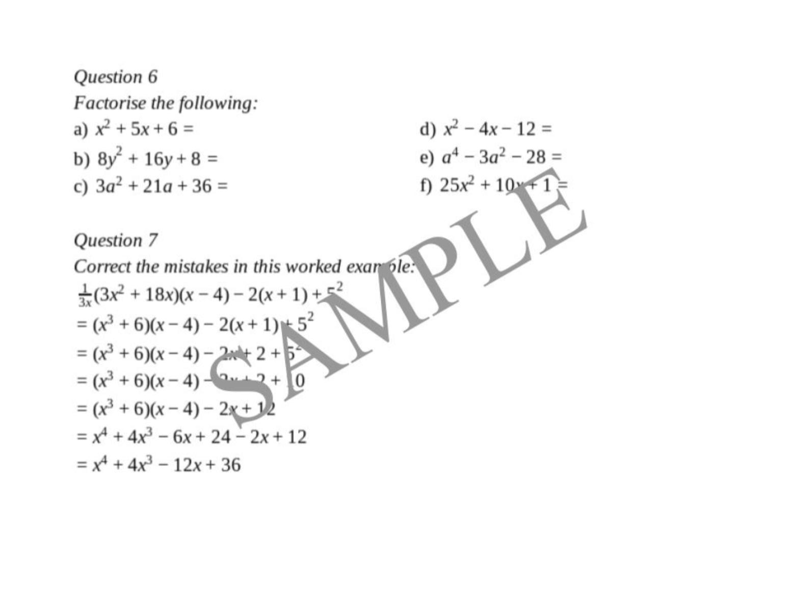 Algebraic Technique Worksheet Year 10 5 2