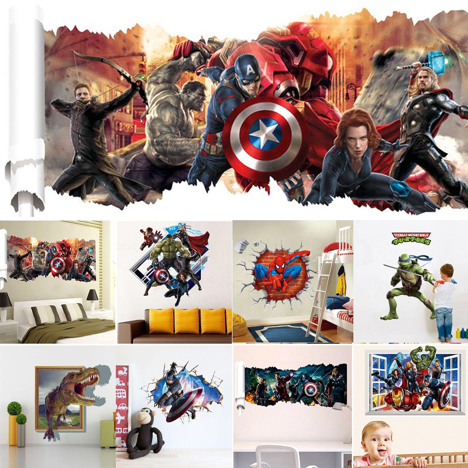 10 Styles 3D Superheroes Avengers Wall Decals Vinyl Sticker Kids Home/Room Decor  sc 1 st  Pinterest & 10 Styles 3D Superheroes Avengers Wall Decals Vinyl Sticker Kids ...