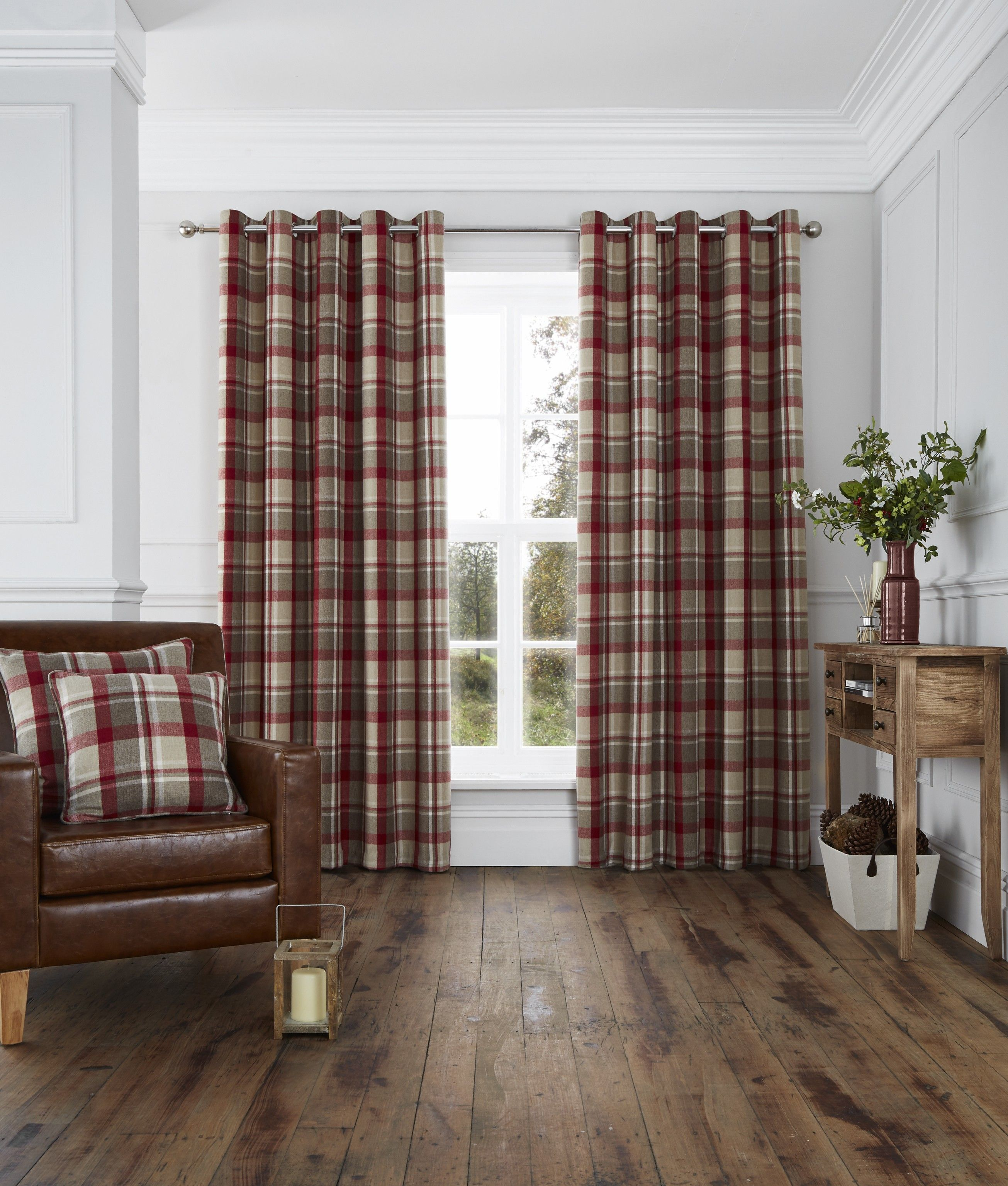 Harris woven check eyelet curtains red sewing for Modern living room curtains uk