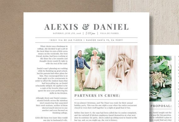 Photography Marketing Wedding Newspaper Template Magazine
