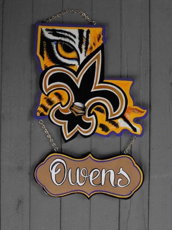 Louisiana Door Hanger LSU -GEAUX TIGERS- Lsu logo Louisiana shape - healthcare door hanger