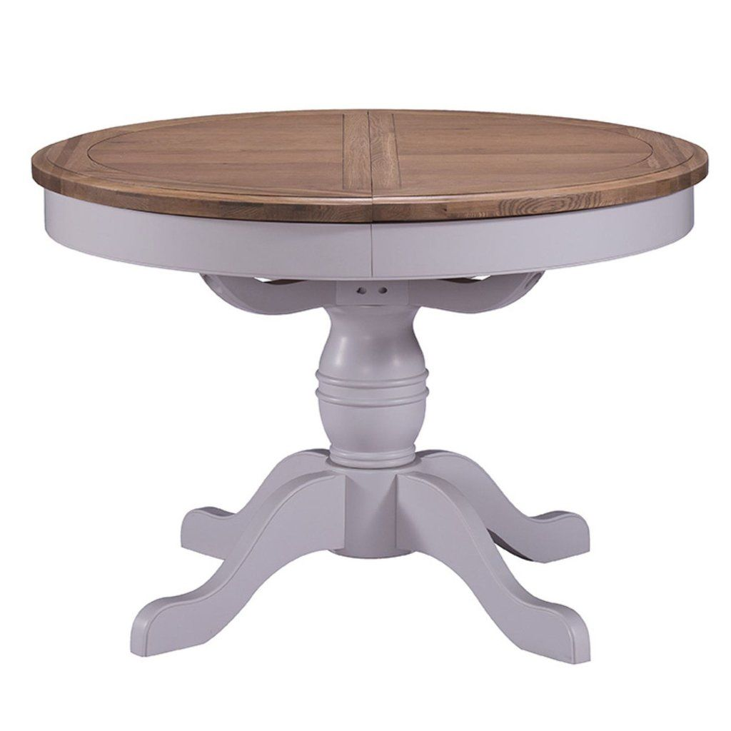 Merveilleux Provencal Grey Painted Dining Table   Round Extending Pedestal Approx  Dimensions W: 110 145