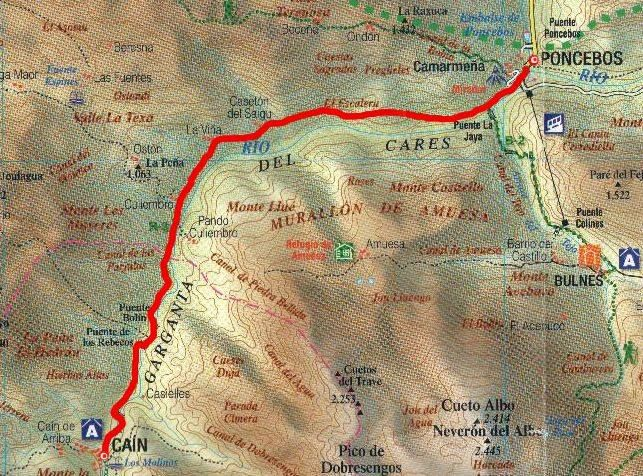 Mapa de la Ruta del Cares, Poncebos-Caín