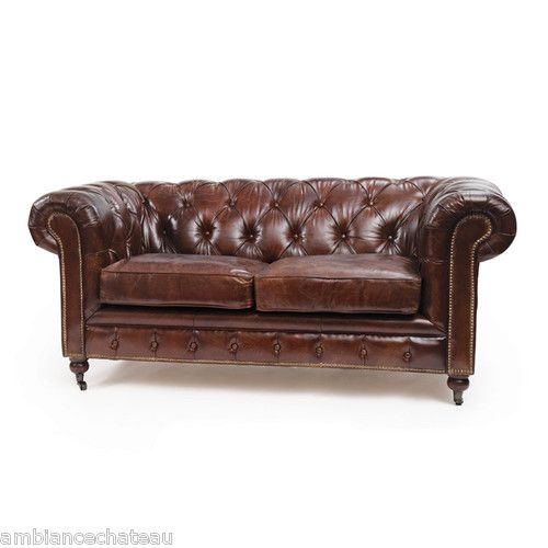 Brown Leather Sofa Ebay: Sleek Vintage Brown Leather London Chesterfield Sofa On