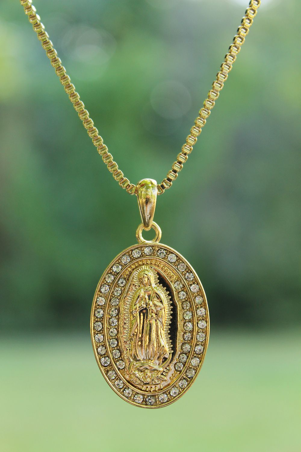 New iced out virgin mary pendant & 24\
