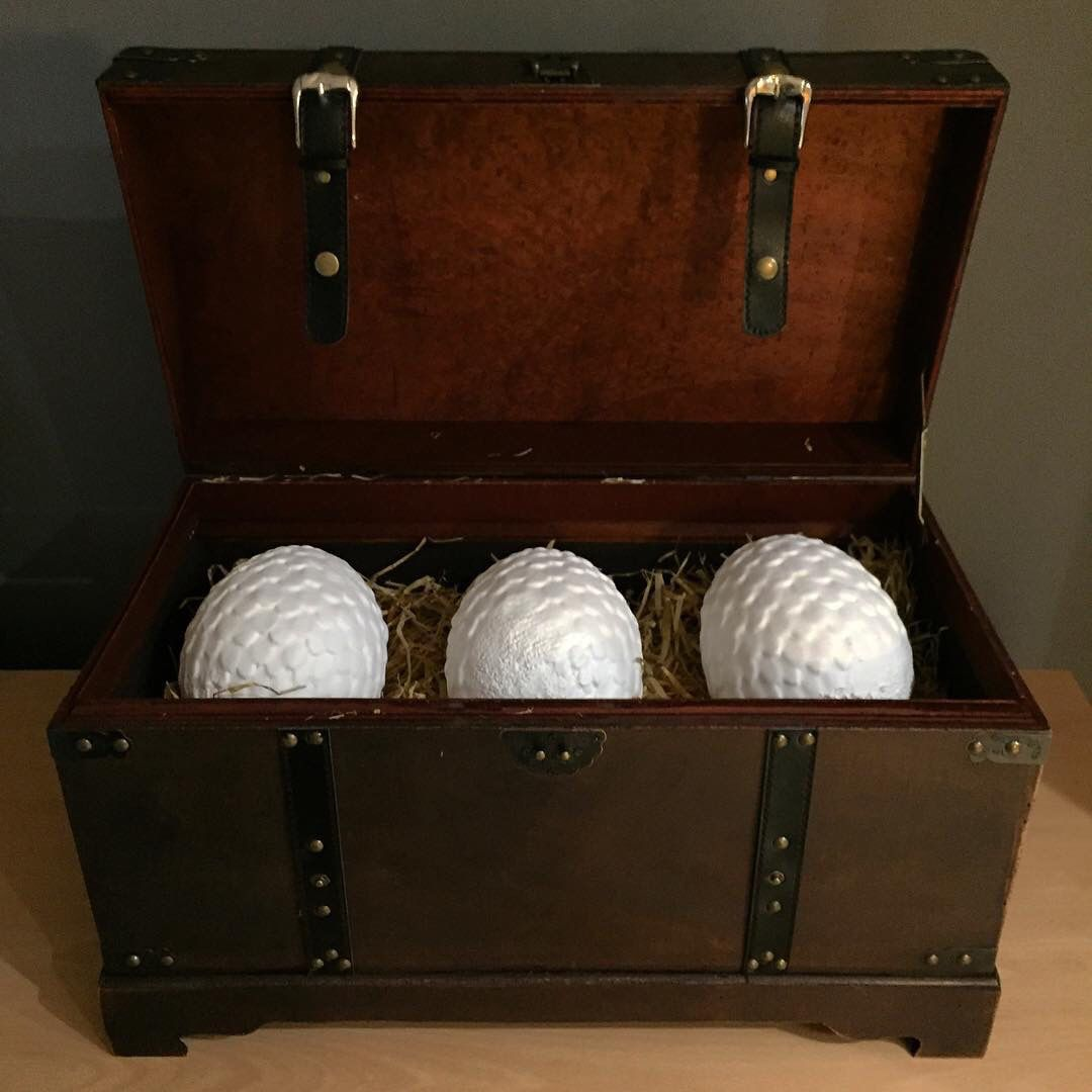Game of thrones dragon eggs. All 3D printed and boxed up ready for London super comic con.  -Forg3d props