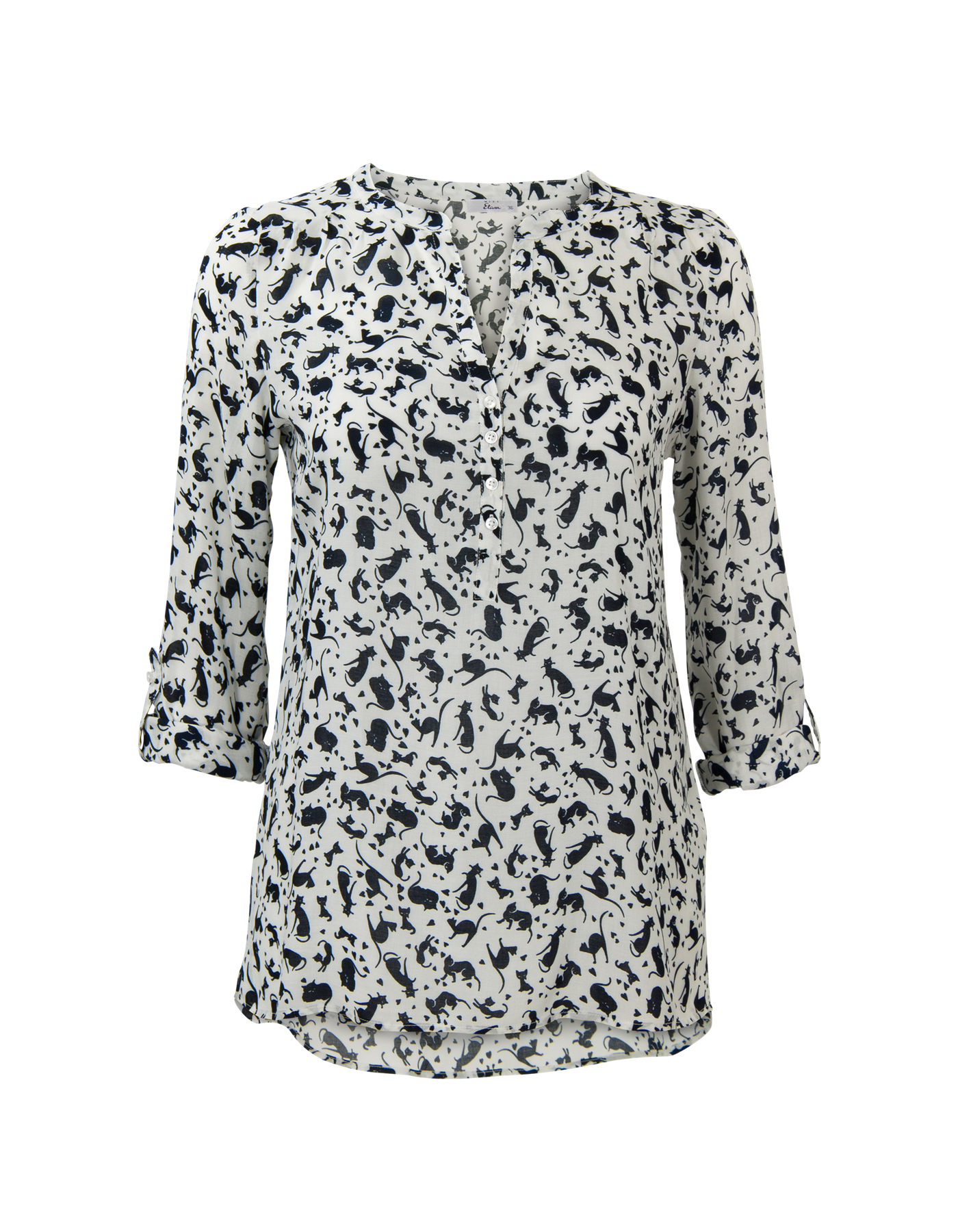 """Roomwitte print blouse met lange (omslag-)mouwen en een V-hals. Het item sluit met knoopjes op het voorpand. De achterkant is iets langer dan de voorkant. De blouse valt soepel op heuplengte.<em>Dit artikel behoort tot de Etam Regulier collectie.<br /> <br /> Voor de leukste stylingtips, <a href=""""http://www.missetam.nl/blog/algemeen/2015/01/sprekende-print-blouses-voor-donkere-dagen/"""" target=""""_blank"""">bekijk ook eens onze blog.</a> </em>"""