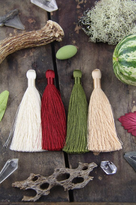 """Fall Colors Tassels, The Original Silky Luxe, 4 Colors: Burgundy, Mossy Green, Cream, Toasted Almond, Jewelry Making Supply, 3.5"""", 4 Pieces"""