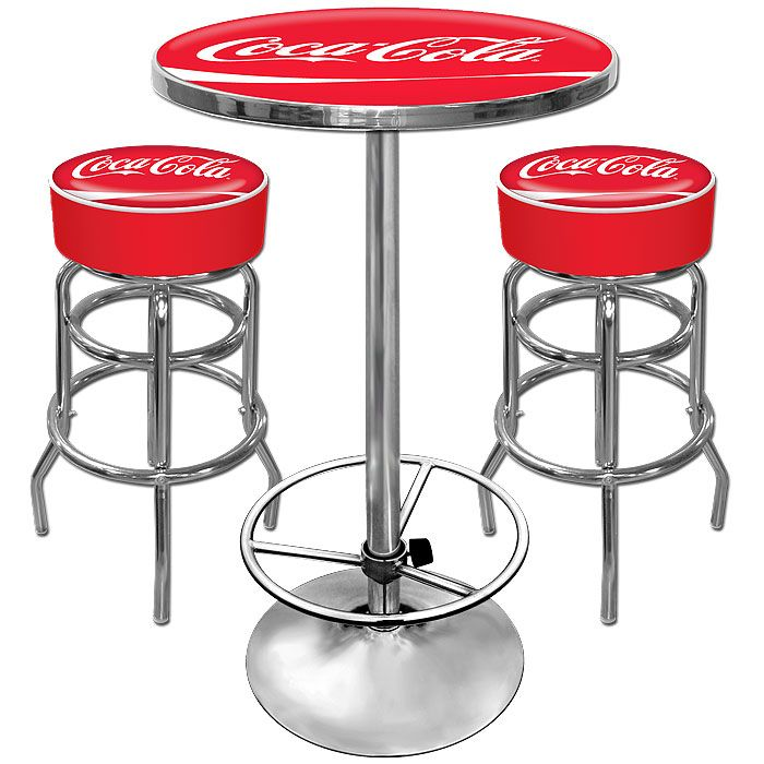 Pleasant Coca Cola 2 Shop Stools And Table Combo Car Guy Garage Andrewgaddart Wooden Chair Designs For Living Room Andrewgaddartcom