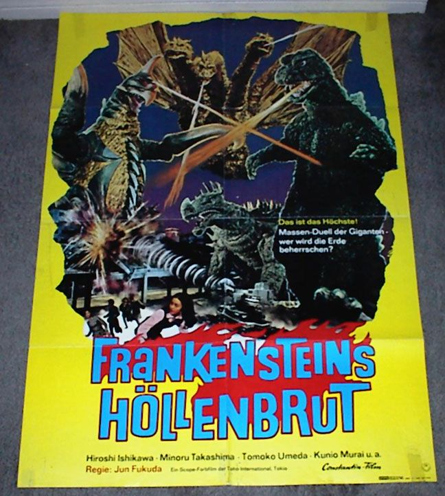 Vintage Sci Fi Horror Movie Poster Godzilla 1965 Invasion: Godzilla Vs. Gigan 1972 (German)