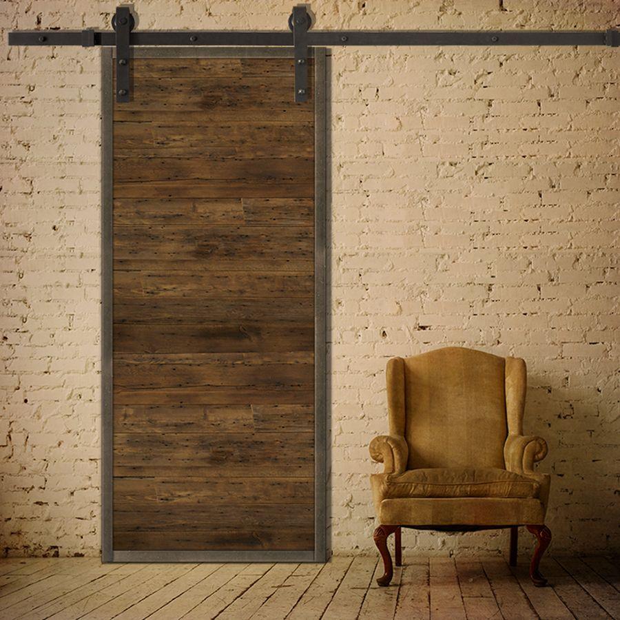 porte coulissante en bois de grange et en m tal de style. Black Bedroom Furniture Sets. Home Design Ideas