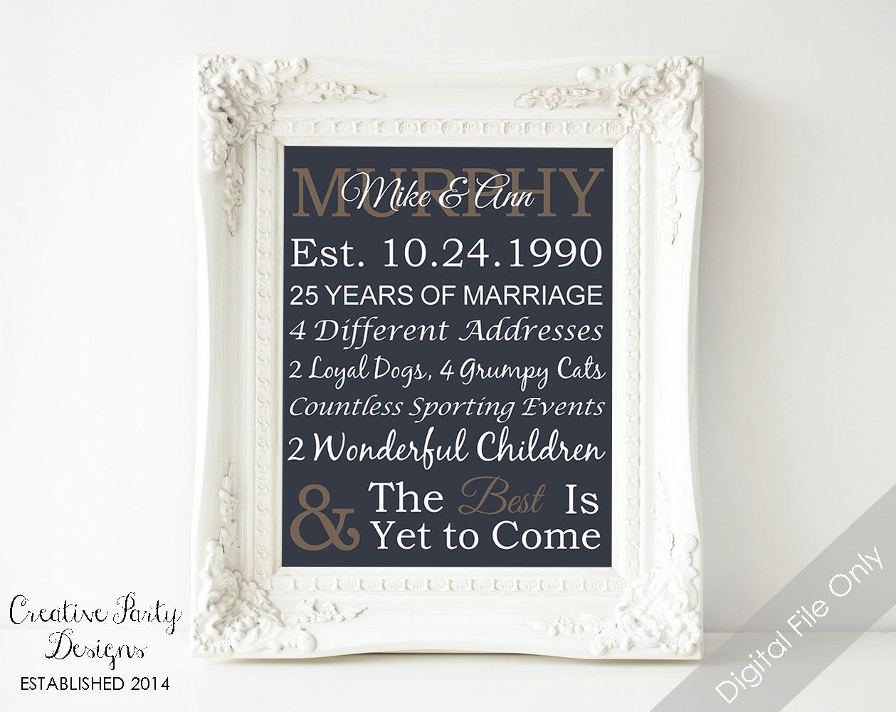 Gifts For Husband 25th Wedding Anniversary: Personalized Anniversary Gift For