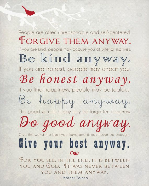 Mother Teresa Quote Wall Art Print   Be Kind Anyway Gift Print