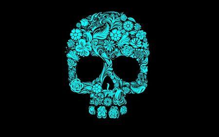 TealBlue Floral Sugar Skull