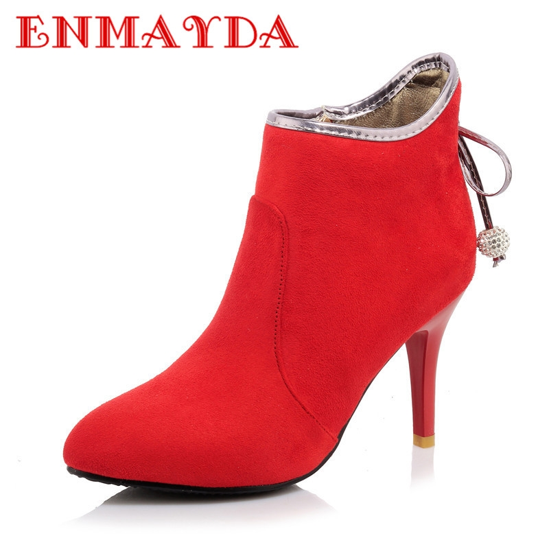 73.66$  Watch now - http://alikh1.worldwells.pw/go.php?t=32716566942 - ENMAYDA Spring/Autumn High Heels Ankle Boots for Women Fashion Boots Black Zip Shoes Woman Solid Platform Shoes Big Size 34-46