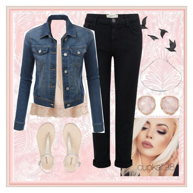 Jean Jacket by cupkait98 on Polyvore featuring polyvore fashion style VILA LE3NO Current/Elliott Monica Vinader Tada & Toy Charlotte Russe Jayson Home NYX clothing