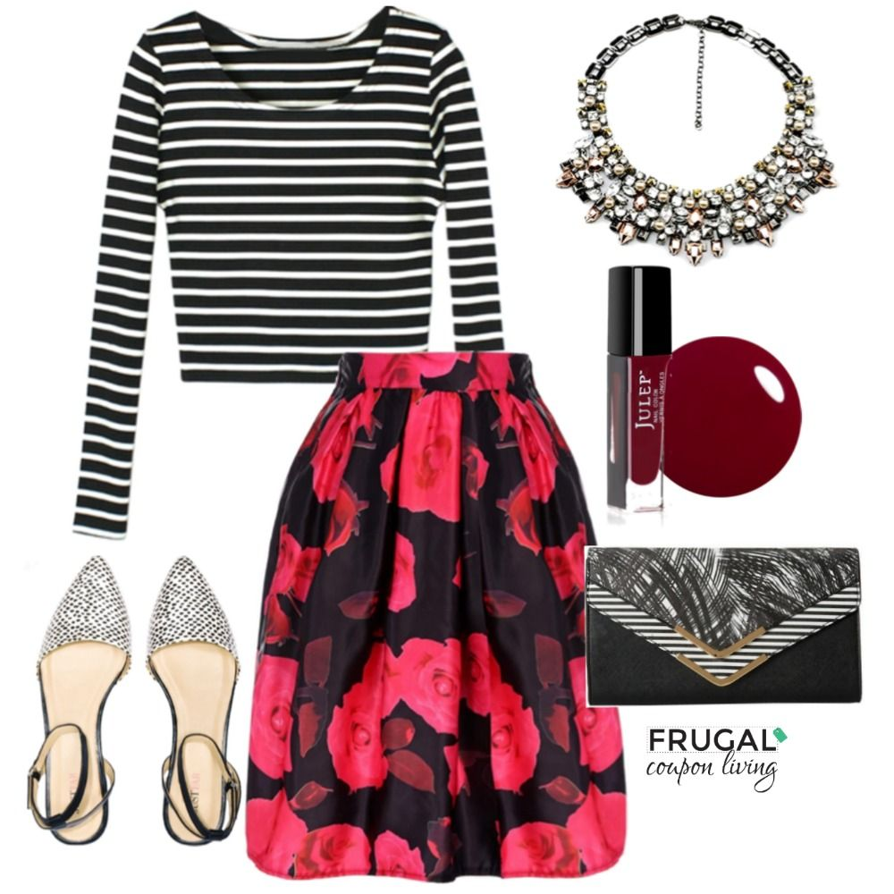 Frugal Fashion Friday Red & Black Floral Skirt Outfit | Circles ...
