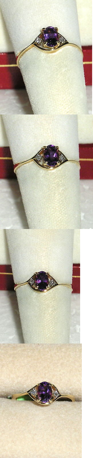 Rings 165044: Solid 14K Gold Amethyst Diamond Ring BUY IT NOW ONLY: $130.0