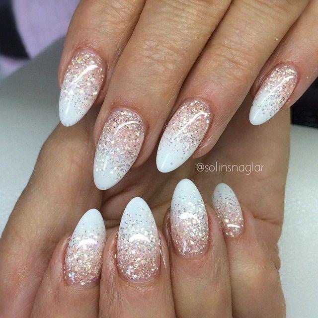 White Glitter Ombre | Beauty | Pinterest | Diseños de uñas ...