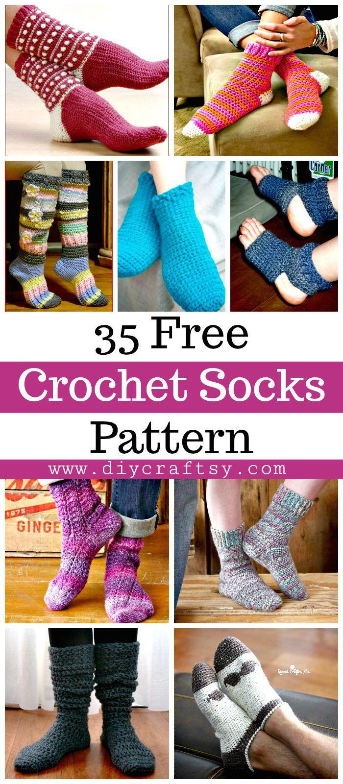 Crochet Socks - 35 Free Crochet Socks Pattern | Tejido, Zapatos y ...
