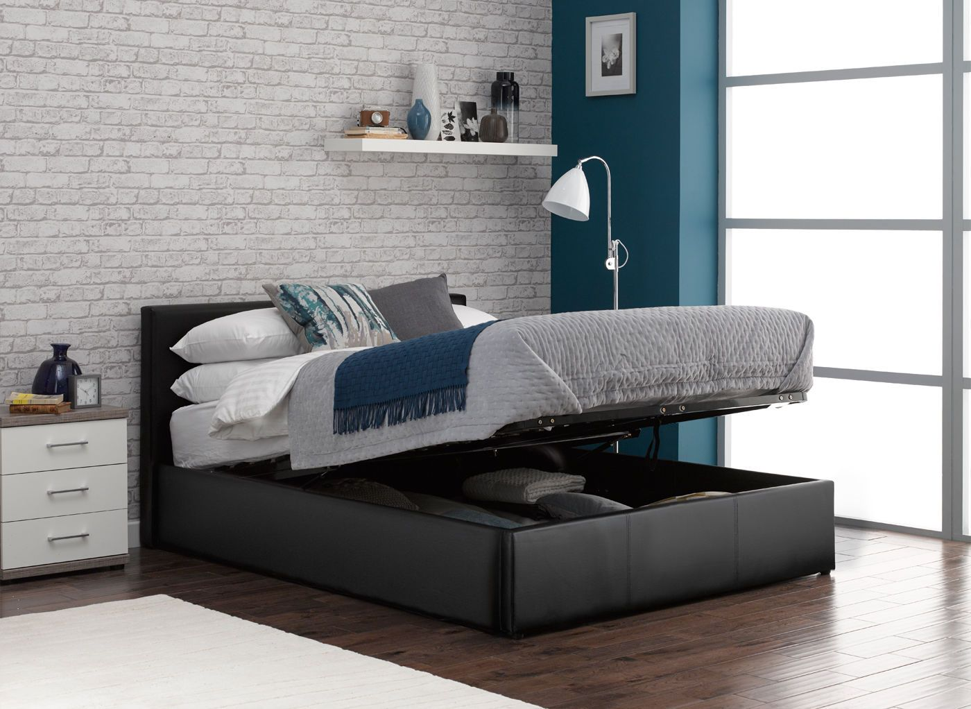 Yardley Upholstered Ottoman Bed Frame Leather bed frame