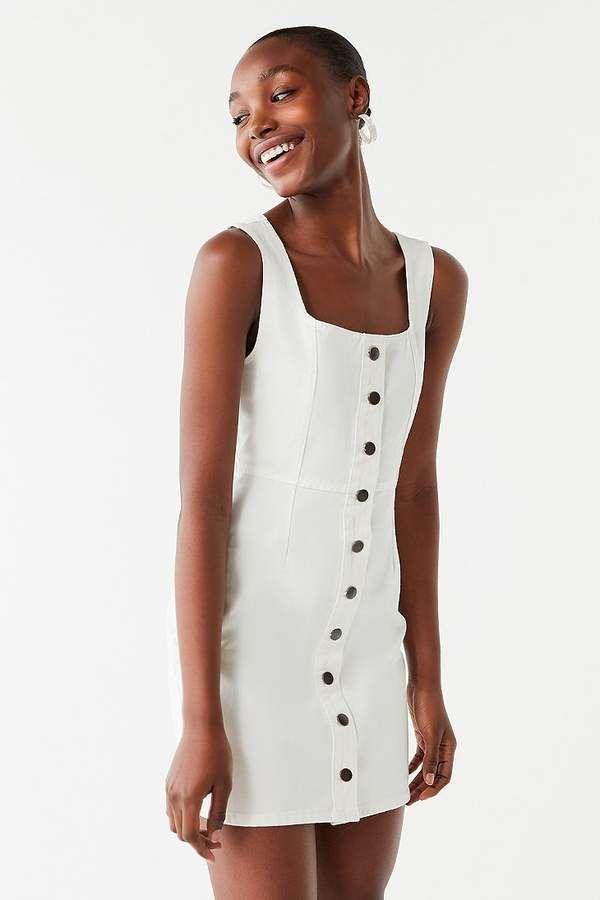 a1adf1c285 UO Button-Down Denim Mini Dress | Products | White denim dress ...
