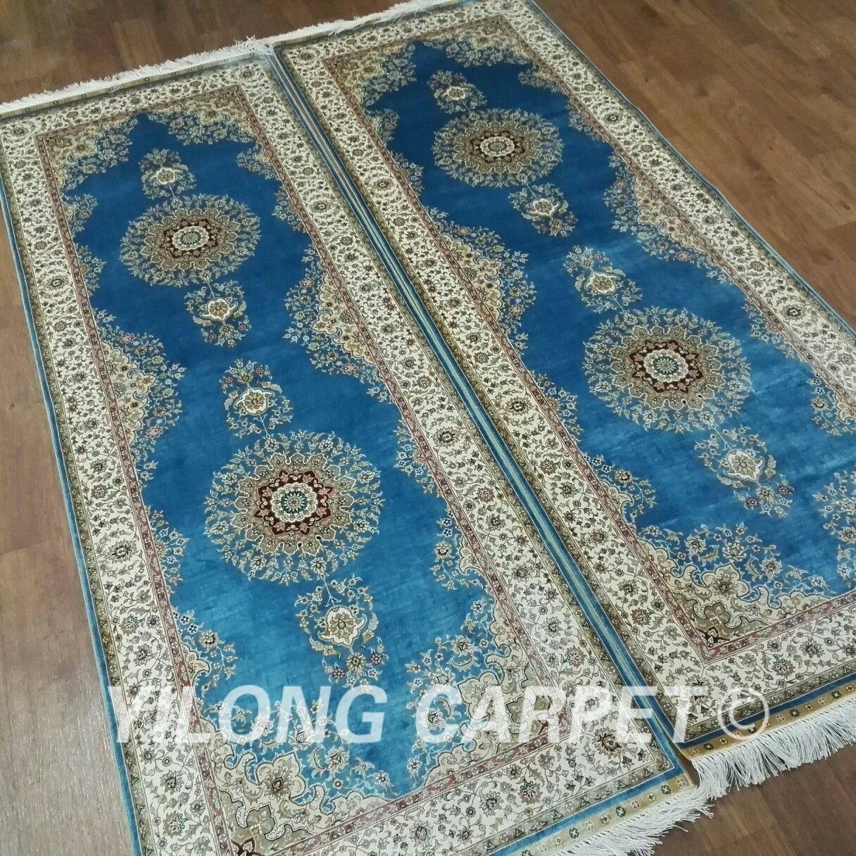 Vantage A Pair Of 2 5 7ft Classic Handmade Persian Blue Silk Rug Runner From Yilong Carpet Factory Will Be Sent To Our Customer Persianr Rug Runner