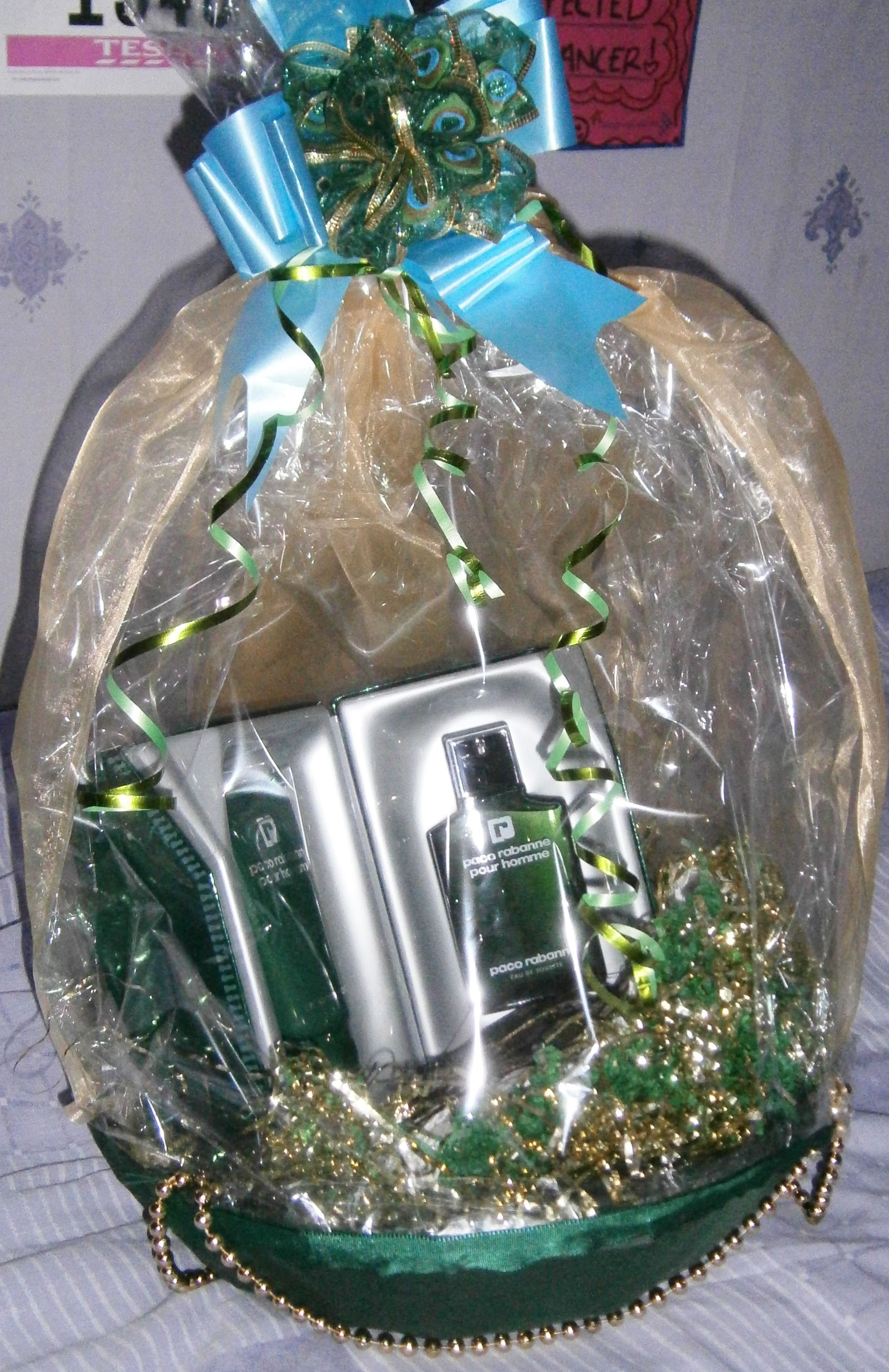 Gift wrapped basket with green silk organza and beads