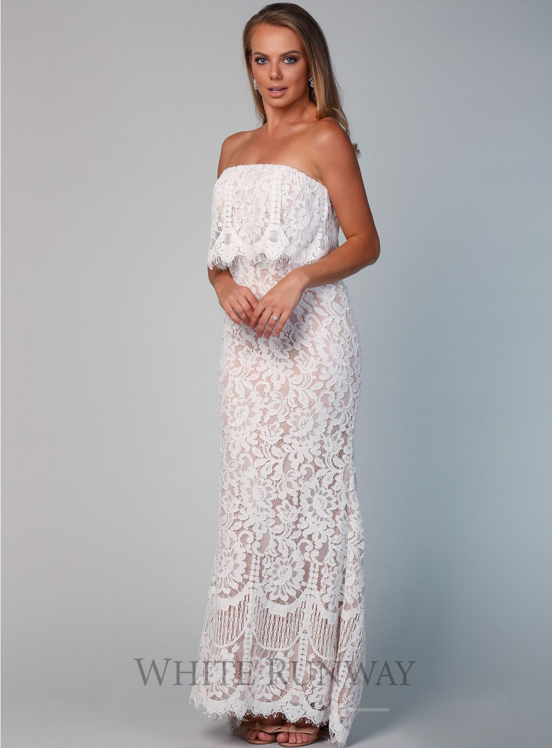 7eb2f442643a Pre-Order Adeline Dress. A lovely full length dress by Jarlo London. A  flattering strapless style featuring all over ivory lace with nude lining  and lace ...