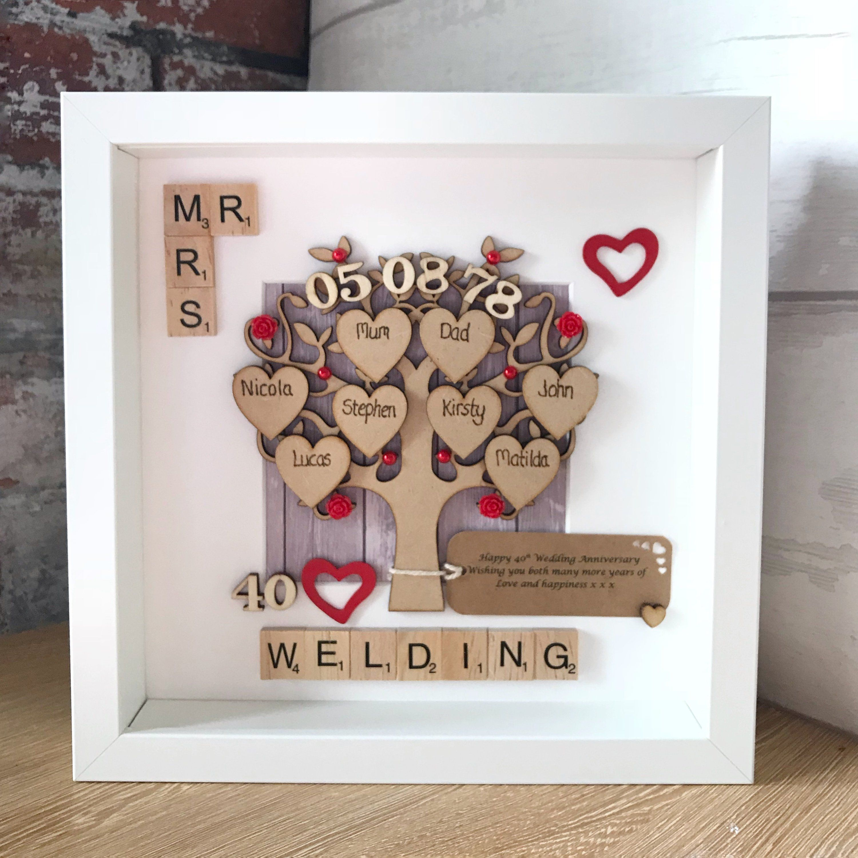 Ruby Wedding Anniversary Gift And Family Tree 40th Wedding Etsy Ruby Wedding Anniversary Gifts Wedding Anniversary Gifts Anniversary Gifts For Parents