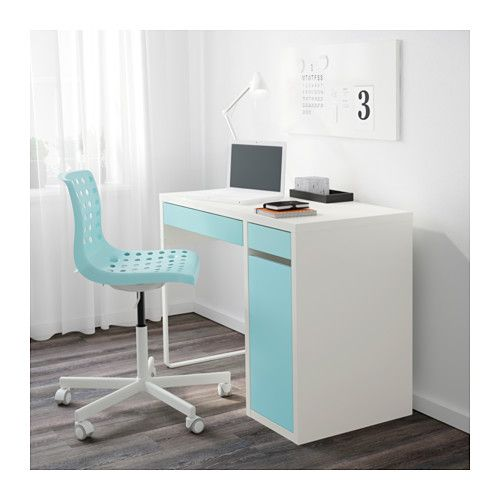 ikea micke desk whitelight turquoise itu0027s easy to keep sockets and cables out of sight but close at hand with the cable outlet at the back