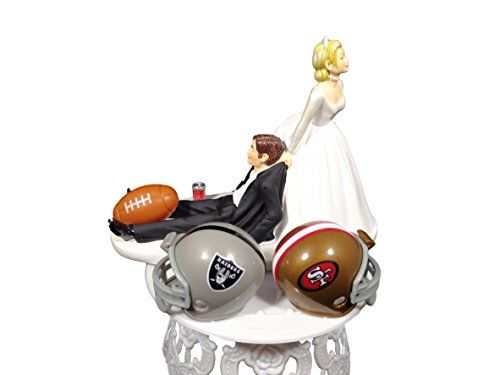 Funny Wedding Cake Topper NFL Bride Vs Groom Football Teams Humorous Cake Topper Perfect for NFL Fans *** Read more reviews of the product by visiting the link on the image.