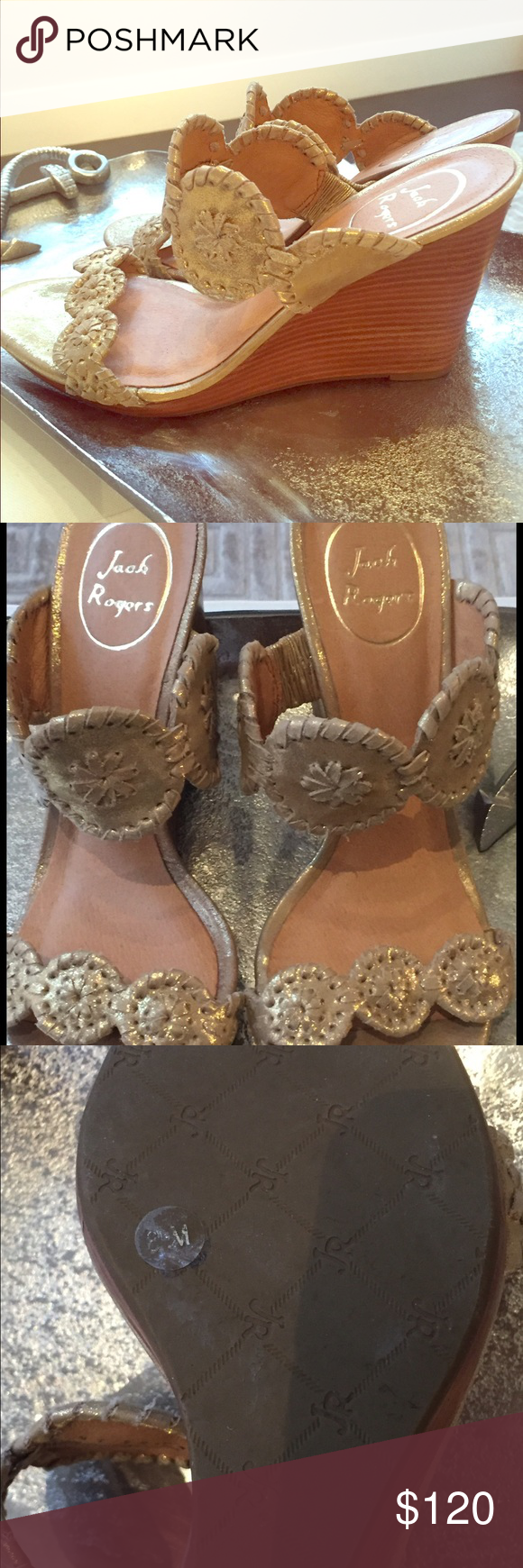 6d6f426ce78 Jack Rogers Luccia Wedge Sandals in Platinum Gorgeous gold Jack Rogers  wedges worn once to a wedding. Nearly perfect condition with a few minor  scuff marks ...