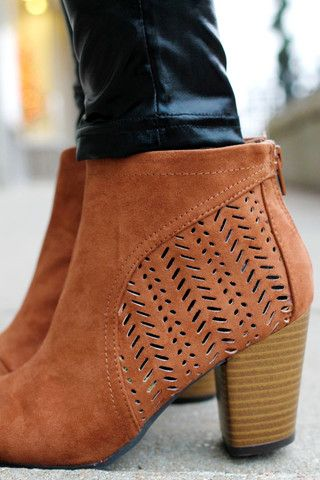 Tan Cutout Suede Booties | UOIOnline.com: Women's Clothing Boutique