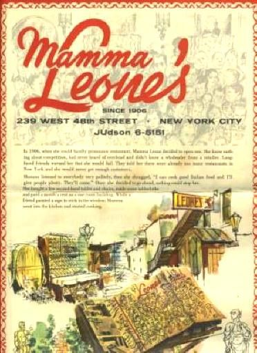 Mamma LeoneS Italian Menu New York City S   Memories