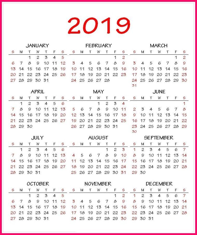 2019 Calendar Printable One Page 2019 Calendar PDF Template | 2019 Calendar Printable | Calendar