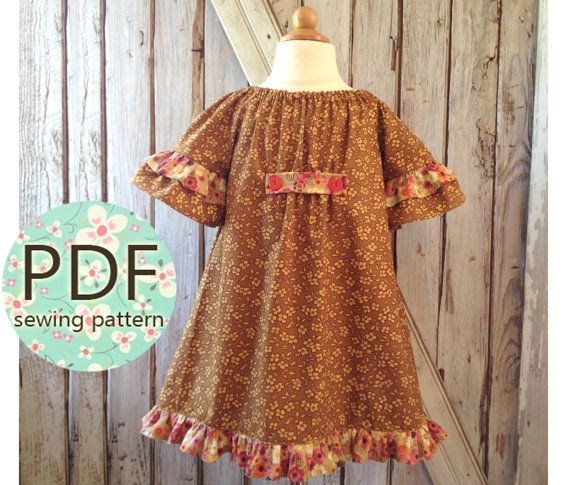 Betsy - Girl's Peasant Dress Pattern PDF  Girl's Sewing
