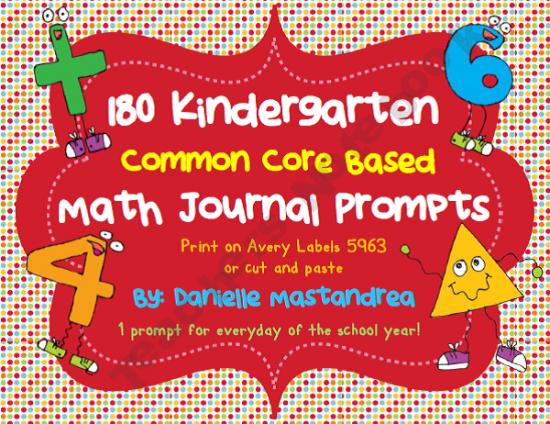 180 Kindergarten Common Core Based Math Journal Prompts