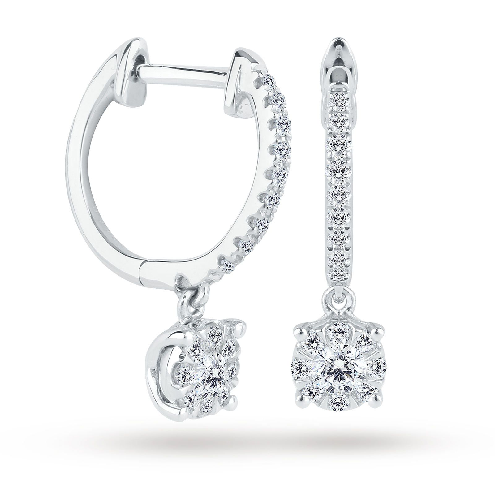 cd71bf19e 9ct White Gold 0.30 Carat Total Weight Diamond Multi Stone Drop Earrings |  Earrings | Jewellery | Goldsmiths