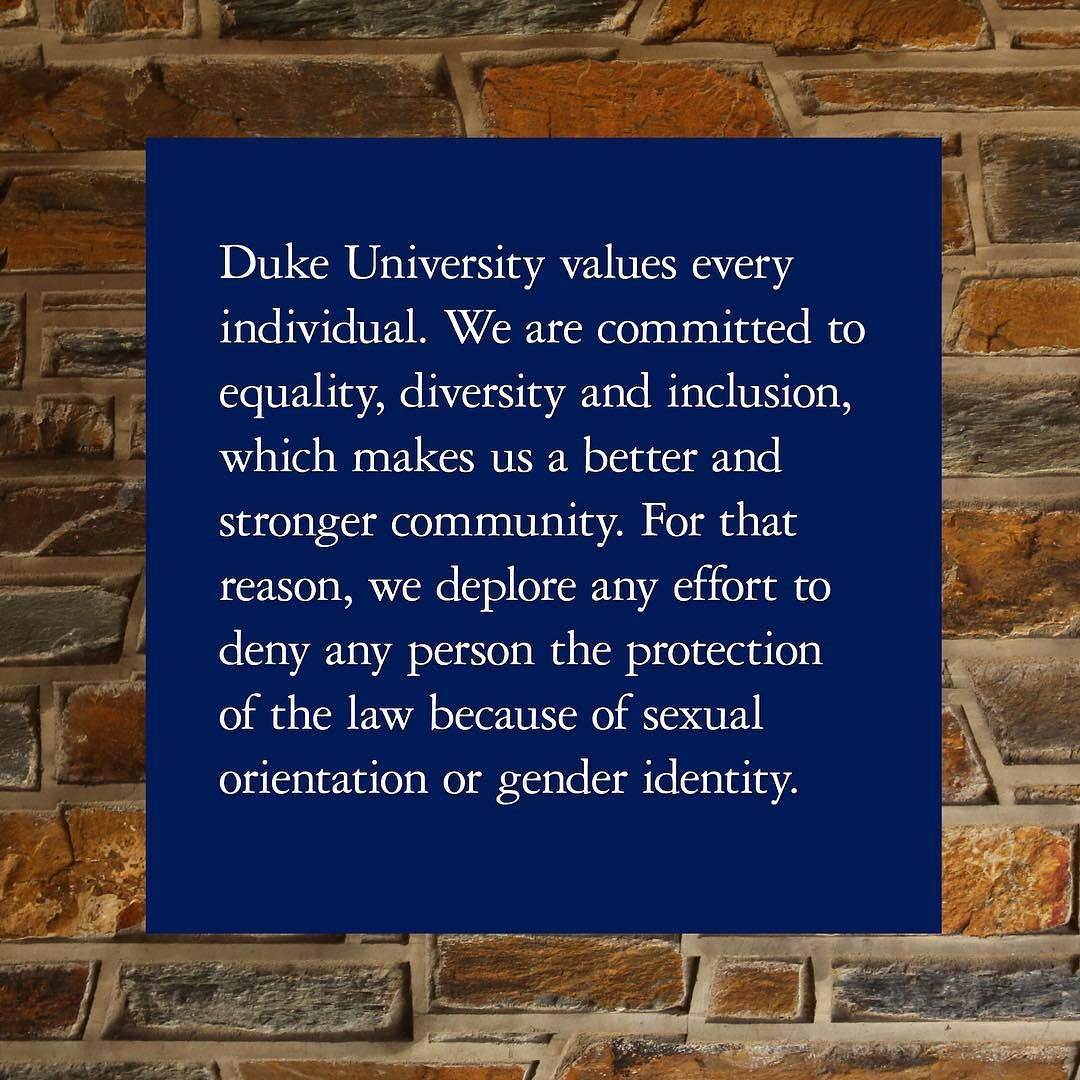 Duke issues a statement about North Carolina's new bathroom law. by dukeuniversity