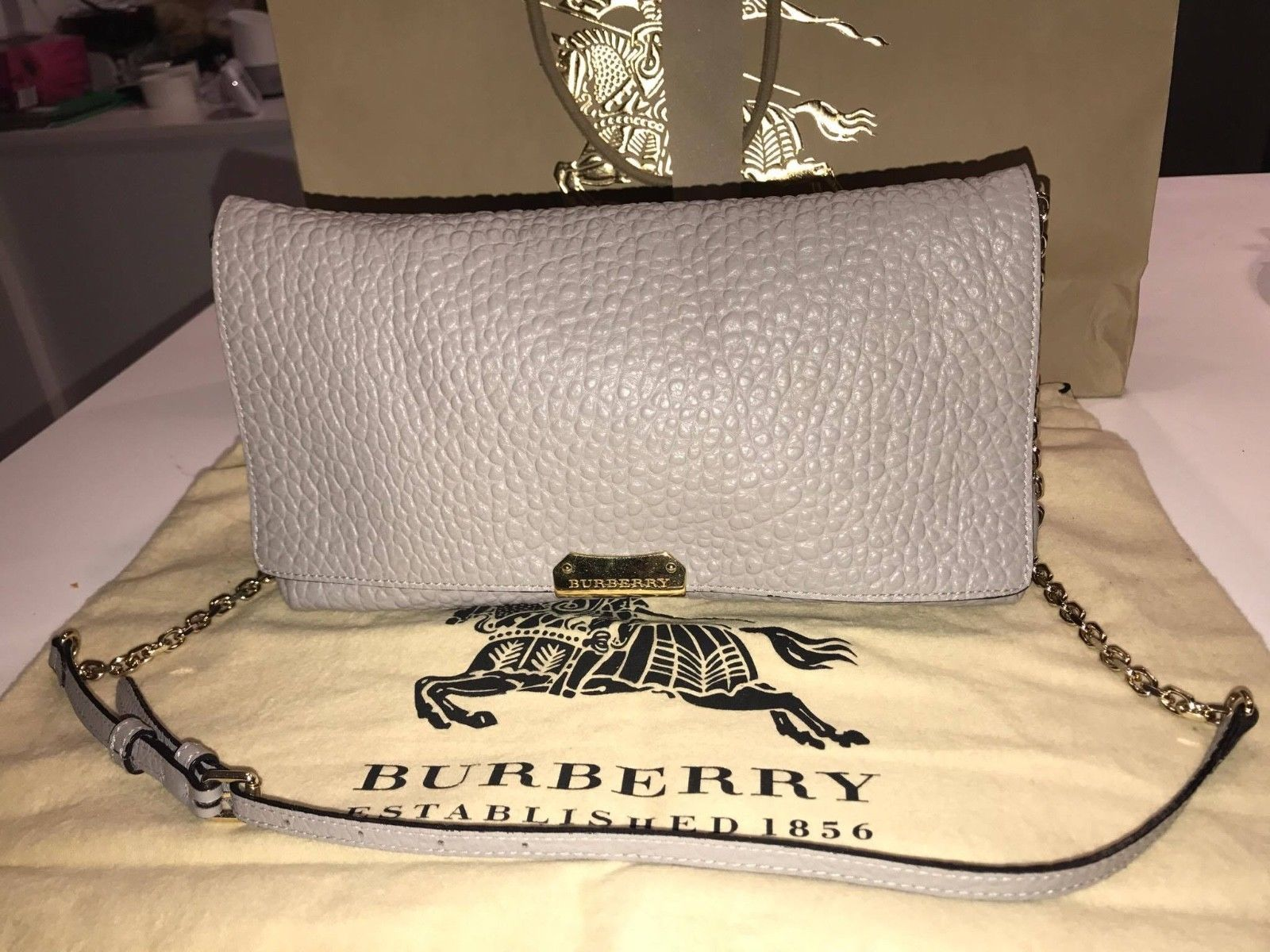 7136cf914248 Burberry Medium Signature Pale Grey Leather Clutch Cross-Body Women s Bag