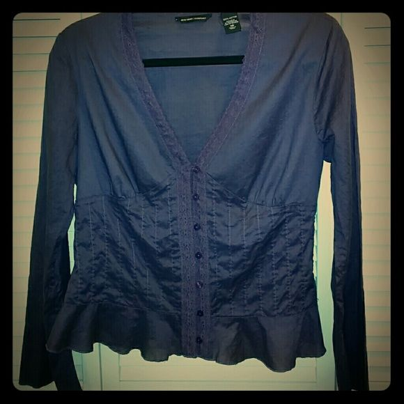 Adorable Deep plum/purple blouse Excellent condition! Washed and worn once. 100% cotton. Sheer so will need a Cami underneath :) Fits like a medium New York & Company Tops Blouses