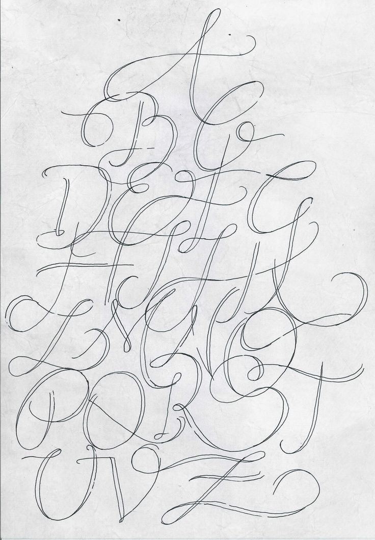 Calligraphy Script Style Flourish Fancy Easy To Hand Draw Alphabet Letters