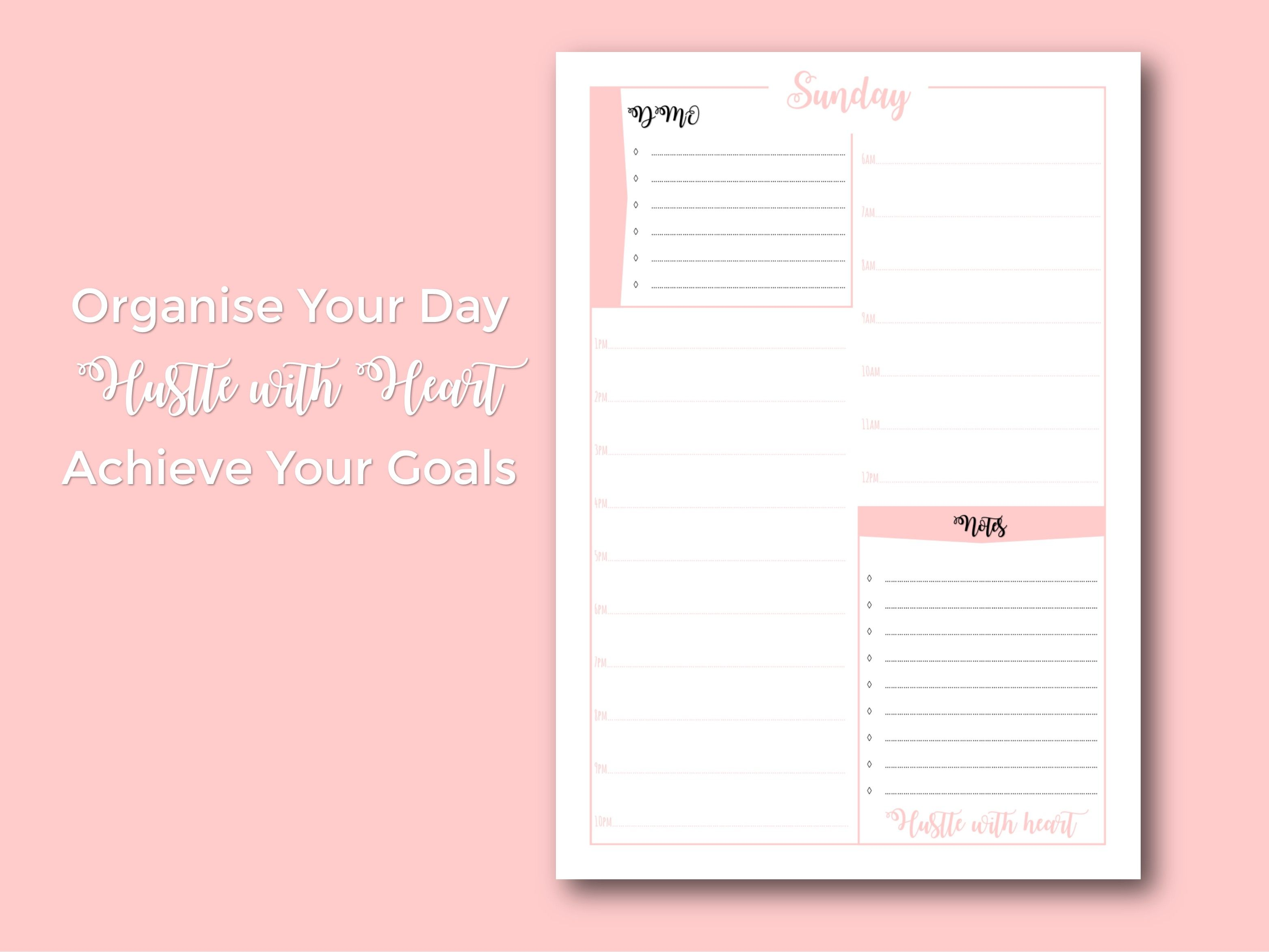 Daily Planner Printable Organise Your Day Hourly Schedule Daily