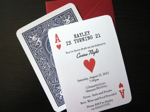 17 Best images about Invitation Ideas For Casino Nights on – Playing Card Invitation