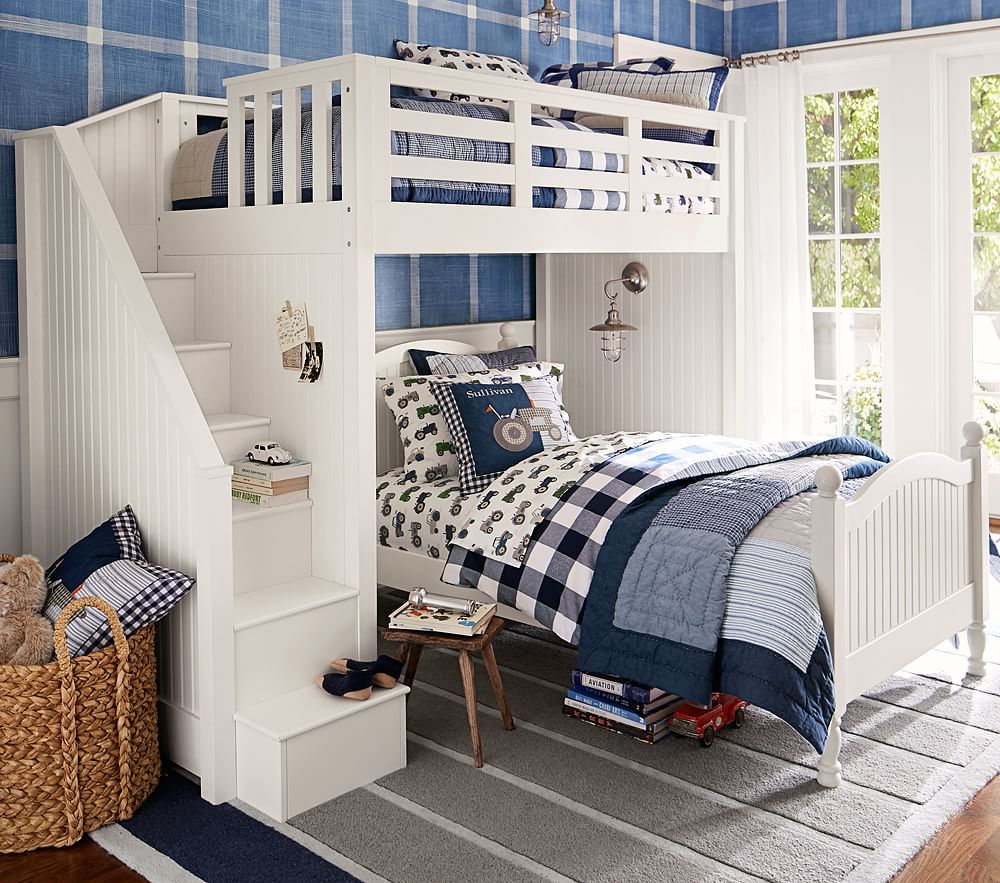 Catalina Stair Loft Bed Bed, Kids bedroom, Pottery barn kids