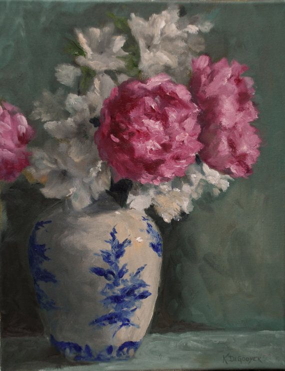 Peonies in a vase by kim degooyeri love the blue and white vase i love the blue and white vase with the gorgeous pink flowers mightylinksfo