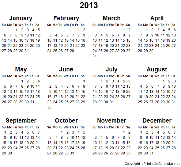 Places To Visit In Month Of December: 2013 Free Printable Calendars